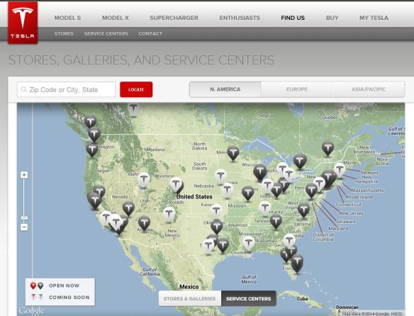 Tesla Dealer and Service Centers May 2014